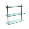 Allied Brass PR-5/16-BBR 16 Inch Triple Tiered Glass Shelf, Brushed Bronze