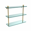Allied Brass PR-5/16-UNL 16 Inch Triple Tiered Glass Shelf, Unlacquered Brass
