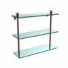 Allied Brass PR-5/16-SBR 16 Inch Triple Tiered Glass Shelf, Satin Brass