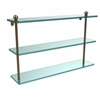 Allied Brass PR-5/22-BBR 22 Inch Triple Tiered Glass Shelf, Brushed Bronze