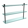 Allied Brass PR-5/22-BKM 22 Inch Triple Tiered Glass Shelf, Matte Black