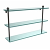 Allied Brass PR-5/22-ORB 22 Inch Triple Tiered Glass Shelf, Oil Rubbed Bronze