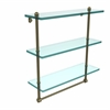 Allied Brass PR-5/16TB-ABR 16 Inch Triple Tiered Glass Shelf with Integrated Towel Bar, Antique Brass