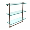 Allied Brass PR-5/16TB-ABZ 16 Inch Triple Tiered Glass Shelf with Integrated Towel Bar, Antique Bronze