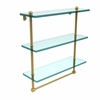 Allied Brass PR-5/16TB-PB 16 Inch Triple Tiered Glass Shelf with Integrated Towel Bar, Polished Brass