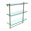 Allied Brass PR-5/16TB-SBR 16 Inch Triple Tiered Glass Shelf with Integrated Towel Bar, Satin Brass