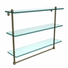 Allied Brass PR-5/22TB-ABR 22 Inch Triple Tiered Glass Shelf with Integrated Towel Bar, Antique Brass