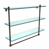 Allied Brass PR-5/22TB-ABZ 22 Inch Triple Tiered Glass Shelf with Integrated Towel Bar, Antique Bronze
