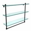 PR-5/22TB-BKM 22 Inch Triple Tiered Glass Shelf with Integrated Towel Bar, Matte Black