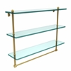 Allied Brass PR-5/22TB-UNL 22 Inch Triple Tiered Glass Shelf with Integrated Towel Bar, Unlacquered Brass