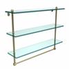 Allied Brass PR-5/22TB-SBR 22 Inch Triple Tiered Glass Shelf with Integrated Towel Bar, Satin Brass