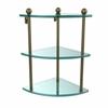Allied Brass PR-6-ABR Three Tier Corner Glass Shelf, Antique Brass