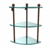 Allied Brass PR-6-ABZ Three Tier Corner Glass Shelf, Antique Bronze