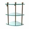 Allied Brass PR-6-BBR Three Tier Corner Glass Shelf, Brushed Bronze
