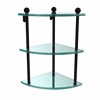 Allied Brass PR-6-BKM Three Tier Corner Glass Shelf, Matte Black
