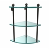 PR-6-ORB Three Tier Corner Glass Shelf, Oil Rubbed Bronze