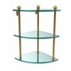 Allied Brass PR-6-UNL Three Tier Corner Glass Shelf, Unlacquered Brass
