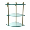Allied Brass PR-6-SBR Three Tier Corner Glass Shelf, Satin Brass