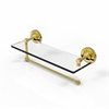 Allied Brass PRBP-1PT/16-UNL Prestige Regal Collection Paper Towel Holder with 16 Inch Glass Shelf, Unlacquered Brass