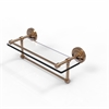 Allied Brass PRBP-1TB/16-GAL-BBR 16 Inch Gallery Glass Shelf with Towel Bar, Brushed Bronze