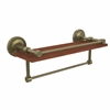 Allied Brass PRBP-1TB-16-GAL-IRW-ABR Prestige Regal Collection 16 Inch IPE Ironwood Shelf with Gallery Rail and Towel Bar, Antique Brass