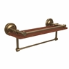 Allied Brass PRBP-1TB-16-GAL-IRW-BBR Prestige Regal Collection 16 Inch IPE Ironwood Shelf with Gallery Rail and Towel Bar, Brushed Bronze