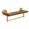 Allied Brass PRBP-1TB-16-GAL-IRW-PB Prestige Regal Collection 16 Inch IPE Ironwood Shelf with Gallery Rail and Towel Bar, Polished Brass