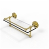 Allied Brass PRBP-1TB/16-GAL-UNL 16 Inch Gallery Glass Shelf with Towel Bar, Unlacquered Brass