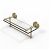 Allied Brass PRBP-1TB/16-GAL-SBR 16 Inch Gallery Glass Shelf with Towel Bar, Satin Brass