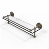 Allied Brass PRBP-1TB/22-GAL-ABR 22 Inch Gallery Glass Shelf with Towel Bar, Antique Brass