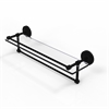 Allied Brass PRBP-1TB/22-GAL-BKM 22 Inch Gallery Glass Shelf with Towel Bar, Matte Black