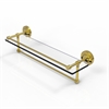 Allied Brass PRBP-1TB/22-GAL-PB 22 Inch Gallery Glass Shelf with Towel Bar, Polished Brass