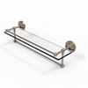Allied Brass PRBP-1TB/22-GAL-PEW 22 Inch Gallery Glass Shelf with Towel Bar, Antique Pewter