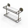 Allied Brass PRBP-2/16-GAL-ABR Prestige Regal 16 Inch Double Glass Shelf with Gallery Rail, Antique Brass