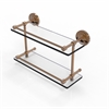 Allied Brass PRBP-2/16-GAL-BBR Prestige Regal 16 Inch Double Glass Shelf with Gallery Rail, Brushed Bronze
