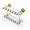 Allied Brass PRBP-2/16-GAL-UNL Prestige Regal 16 Inch Double Glass Shelf with Gallery Rail, Unlacquered Brass