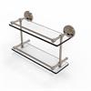 Allied Brass PRBP-2/16-GAL-PEW Prestige Regal 16 Inch Double Glass Shelf with Gallery Rail, Antique Pewter