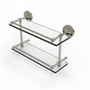 Allied Brass PRBP-2/16-GAL-PNI Prestige Regal 16 Inch Double Glass Shelf with Gallery Rail, Polished Nickel