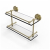 Allied Brass PRBP-2/16-GAL-SBR Prestige Regal 16 Inch Double Glass Shelf with Gallery Rail, Satin Brass