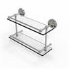 Allied Brass PRBP-2/16-GAL-SN Prestige Regal 16 Inch Double Glass Shelf with Gallery Rail, Satin Nickel