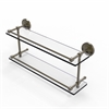 Allied Brass PRBP-2/22-GAL-ABR Prestige Regal 22 Inch Double Glass Shelf with Gallery Rail, Antique Brass