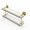 Allied Brass PRBP-2/22-GAL-UNL Prestige Regal 22 Inch Double Glass Shelf with Gallery Rail, Unlacquered Brass