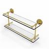 Allied Brass PRBP-2/22-GAL-PB Prestige Regal 22 Inch Double Glass Shelf with Gallery Rail, Polished Brass