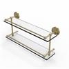 Allied Brass PRBP-2/22-GAL-SBR Prestige Regal 22 Inch Double Glass Shelf with Gallery Rail, Satin Brass