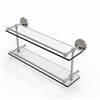 Allied Brass PRBP-2/22-GAL-SN Prestige Regal 22 Inch Double Glass Shelf with Gallery Rail, Satin Nickel
