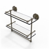 Allied Brass PRBP-2TB/16-GAL-ABR 16 Inch Gallery Double Glass Shelf with Towel Bar, Antique Brass