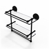 Allied Brass PRBP-2TB/16-GAL-BKM 16 Inch Gallery Double Glass Shelf with Towel Bar, Matte Black
