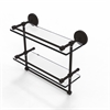 Allied Brass PRBP-2TB/16-GAL-ORB 16 Inch Gallery Double Glass Shelf with Towel Bar, Oil Rubbed Bronze