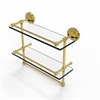 Allied Brass PRBP-2TB/16-GAL-PB 16 Inch Gallery Double Glass Shelf with Towel Bar, Polished Brass