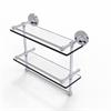 Allied Brass PRBP-2TB/16-GAL-PC 16 Inch Gallery Double Glass Shelf with Towel Bar, Polished Chrome
